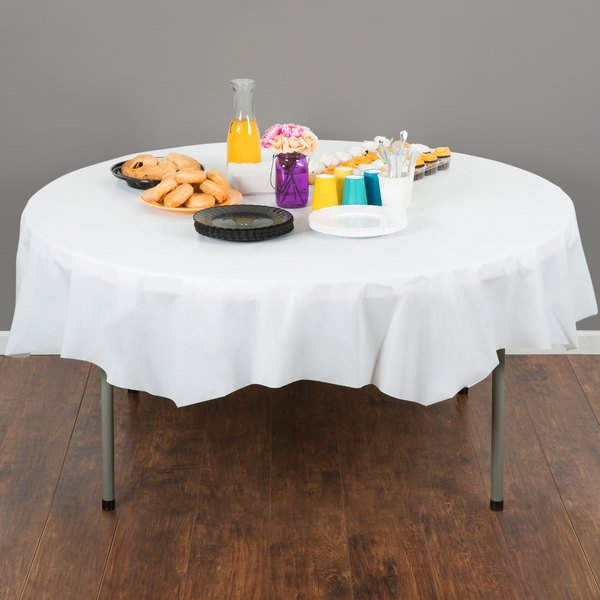"""Creative Converting 703272 82"""" White OctyRound Disposable Plastic Table Cover - 12/Case"""