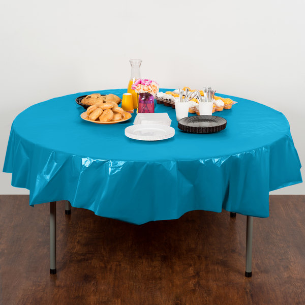 "Creative Converting 703131 82"" Turquoise Blue OctyRound Disposable Plastic Table Cover - 12/Case Main Image 4"