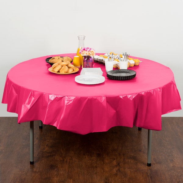 """Creative Converting 703277 82"""" Hot Magenta Pink OctyRound Disposable Plastic Table Cover - 12/Case"""