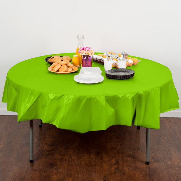 """Creative Converting 703123 82"""" Fresh Lime Green OctyRound Disposable Plastic Table Cover - 12/Case"""
