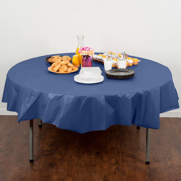 "Creative Converting 703278 82"" Navy Blue OctyRound Disposable Plastic Table Cover - 12/Case"