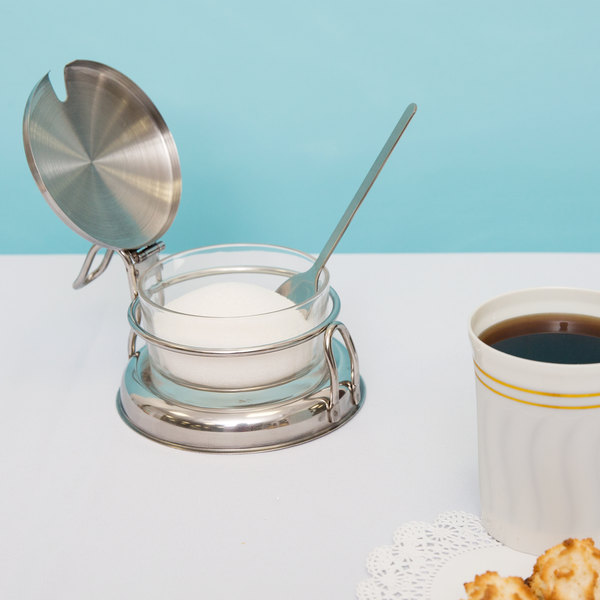 Tablecraft 357 6 oz. Glass Condiment Jar with Holder, Lid & Spoon