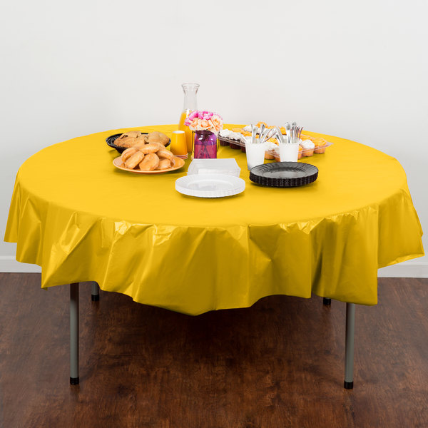 "Creative Converting 703269 82"" School Bus Yellow OctyRound Disposable Plastic Table Cover - 12/Case Main Image 4"
