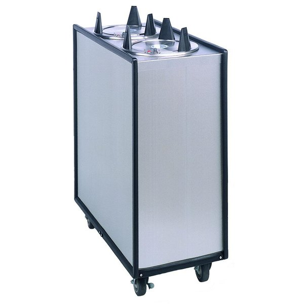 """APW Wyott Lowerator ML2-5 Mobile Enclosed Unheated Two Tube Dish Dispenser for 5"""" Dishes"""