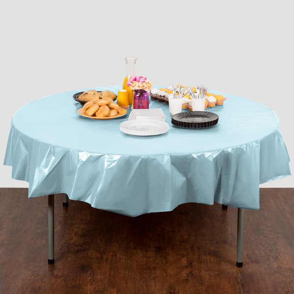"Creative Converting 703882 82"" Pastel Blue OctyRound Plastic Table Cover - 12/Case Main Image 3"