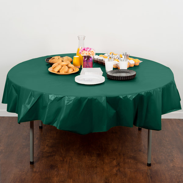 """Creative Converting 703124 82"""" Hunter Green OctyRound Disposable Plastic Table Cover - 12/Case"""