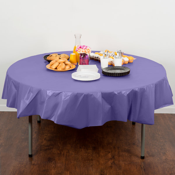 "Creative Converting 703268 82"" Purple OctyRound Disposable Plastic Table Cover - 12/Case"