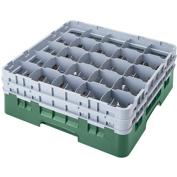 "Cambro 25S638119 Camrack 6 7/8"" High Customizable Sherwood Green 25 Compartment Glass Rack"
