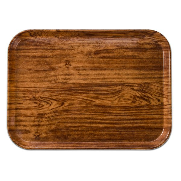 "Cambro 2632309 10 7/16"" x 12 3/4"" (26,5 x 32,5 cm) Rectangular Metric Java Teak Customizable Fiberglass Camtray - 12/Case"