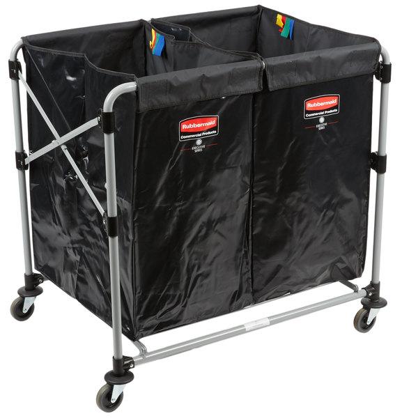 Continental Laundry Cart Huskee 275 Black X Frame Folding Cart
