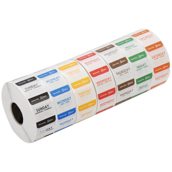"""Noble Products 1"""" Dissolvable Day of the Week Label Rolls Main Image 1"""