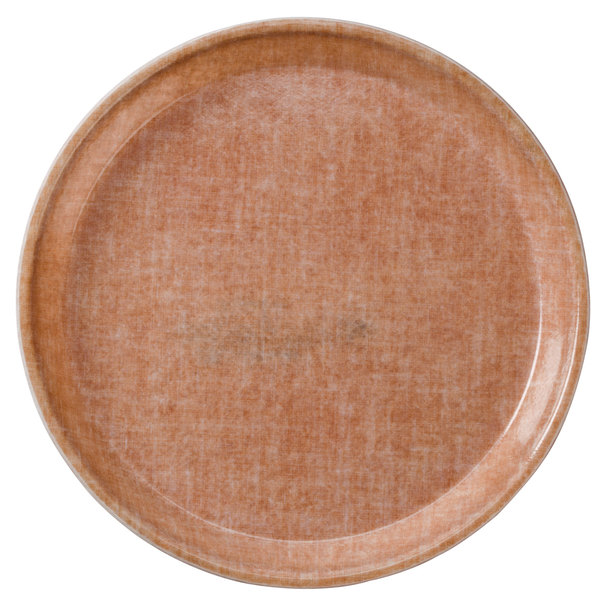 "Cambro 1550329 16"" Low Profile Round Linen Toffee Customizable Fiberglass Camtray - 12/Case"