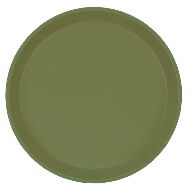 "Cambro 1200428 12"" Round Olive Green Customizable Fiberglass Camtray - 12/Case"