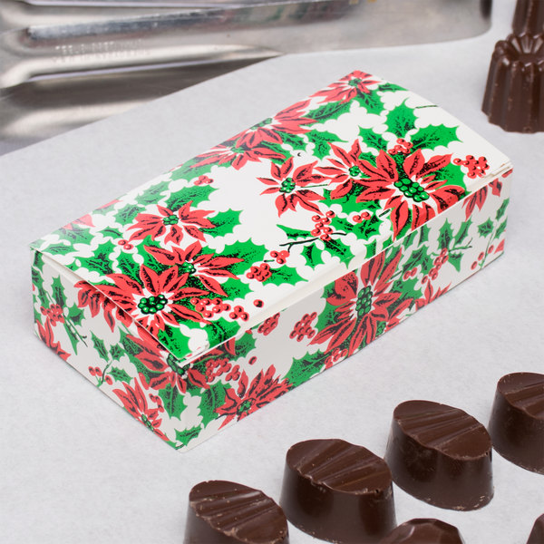 "4 1/2"" x 2 5/16"" x 1 1/8"" 1-Piece 1/4 lb. Poinsettia / Holiday Candy Box - 250/Case Main Image 5"
