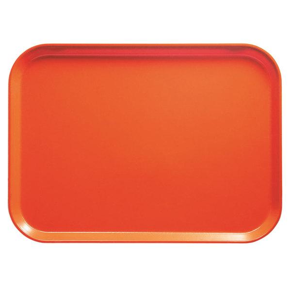 "Cambro 926222 8 7/8"" x 25 9/16"" x 1"" Rectangular Orange Pizzazz Customizable Fiberglass Camtray - 12/Case"