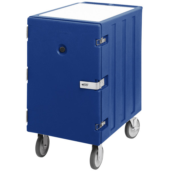 "Cambro 1826LTCSP186 Camcart Navy Blue Mobile Cart for 18"" x 26"" Sheet Pans and Trays with Security Package Main Image 1"