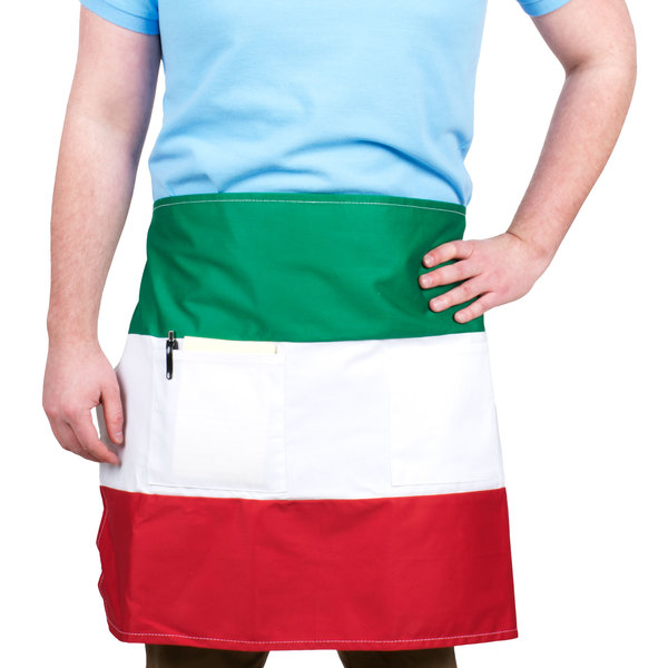 "Choice Italian Three-Panel Bar Apron with Pockets - 20""L x 27""W"