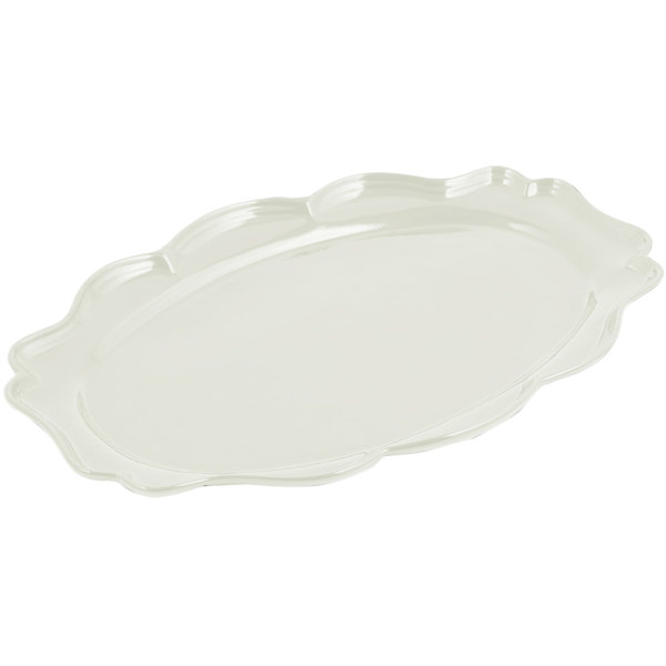 "Bon Chef 2027 Queen Anne 12 1/2"" x 16"" Sandstone Ivory Cast Aluminum Oval Platter"