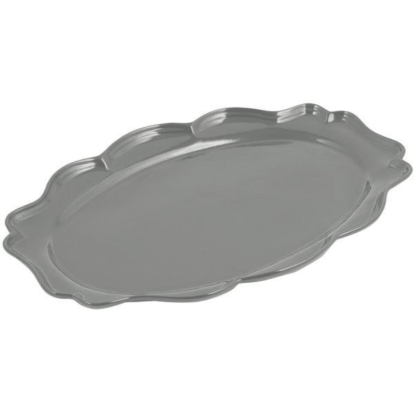 "Bon Chef 2027 Queen Anne 12 1/2"" x 16"" Sandstone Platinum Gray Cast Aluminum Oval Platter"