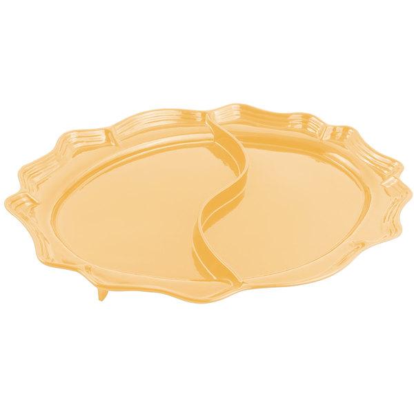 "Bon Chef 2030D Queen Anne 18 3/4"" x 24"" Sandstone Ginger Cast Aluminum Divided Oval Platter"