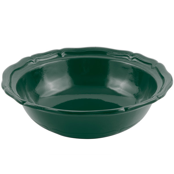 Bon Chef 9054 Queen Anne 10 Qt. Sandstone Hunter Green Cast Aluminum Salad Bowl