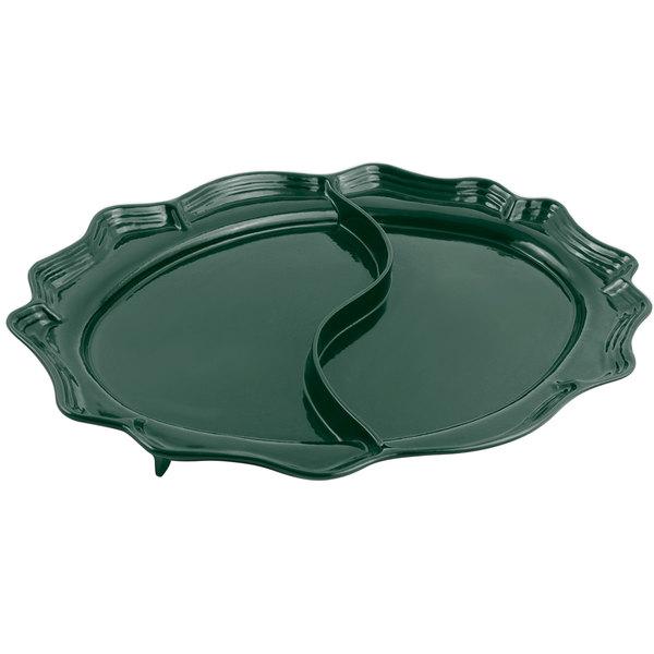 "Bon Chef 2030D Queen Anne 18 3/4"" x 24"" Sandstone Hunter Green Cast Aluminum Divided Oval Platter"