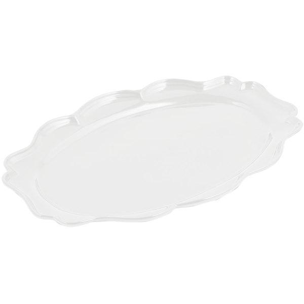 "Bon Chef 2027 Queen Anne 12 1/2"" x 16"" Sandstone White Cast Aluminum Oval Platter"