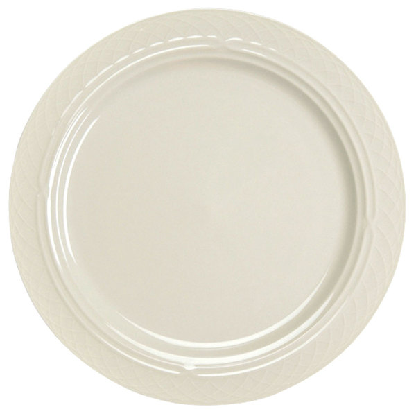 """Homer Laughlin 3337000 Gothic 10"""" Ivory (American White) Undecorated Mid Rim China Plate - 24/Case"""