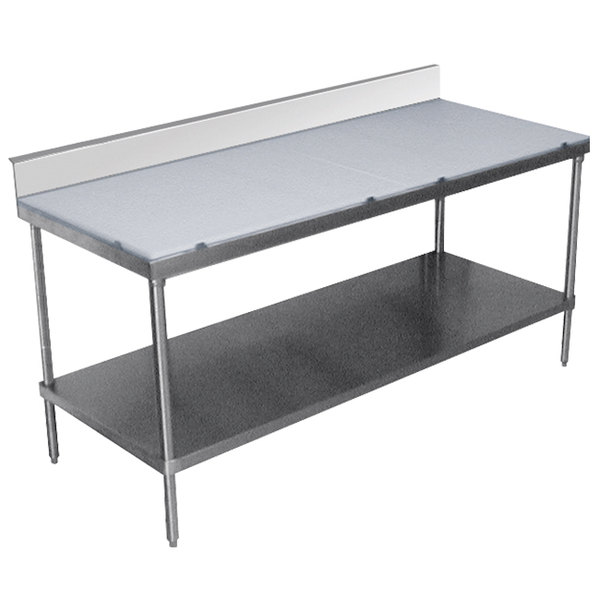 """Advance Tabco SPS-307 Poly Top Work Table 30"""" x 84"""" with Undershelf and 6"""" Backsplash"""
