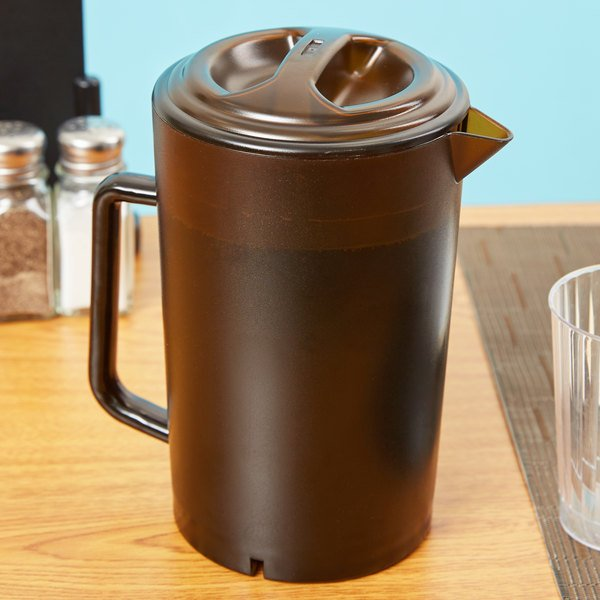 GET P-3064-1-A 64 oz. Customizable Amber Textured Pitcher with Lid - 12/Case