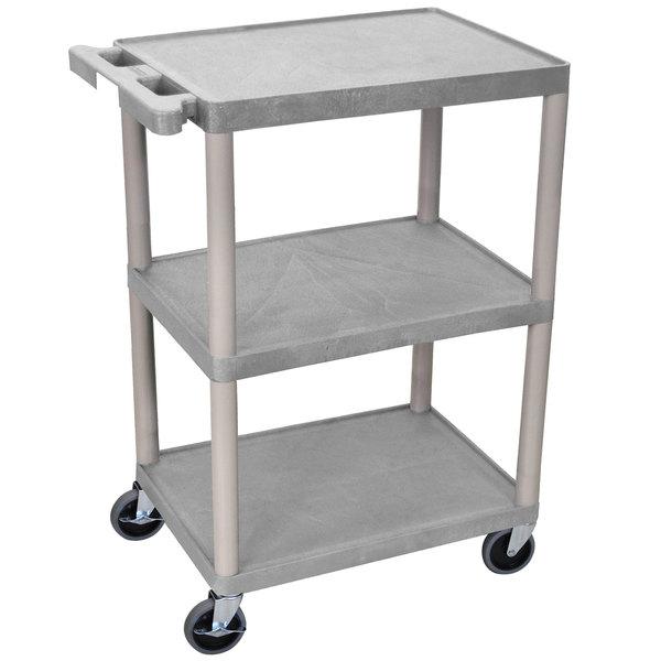 """Luxor HE34-G Gray 3 Shelf Utility Cart - 18"""" x 24"""" x 32 1/2"""" Main Image 1"""