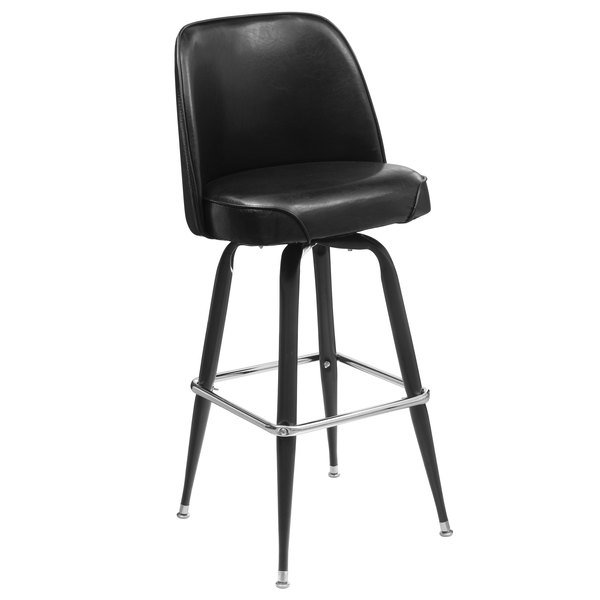 Lancaster Table Seating Deluxe Black Barstool With 19 Wide Bucket Seat
