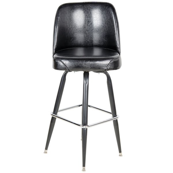 The Lancaster Table Seating deluxe black barstool with wide bucket seat ensures that your guests can sit fortably in your bar club or game room