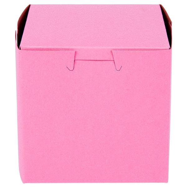 "Southern Champion 807 4"" x 4"" x 4"" Pink Cake / Bakery Box - 200/Bundle"
