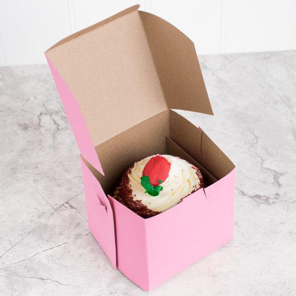 "4"" x 4"" x 4"" Pink Cupcake / Bakery Box - 200/Bundle"