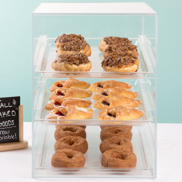 "Cal-Mil 241 Classic Three Tier Acrylic Display Case with Rear Door - 13 1/2"" x 22"" x 21"""