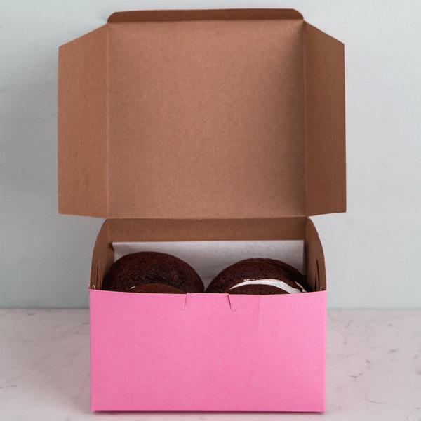"7"" x 7"" x 4"" Pink Cake / Bakery Box - 250/Bundle Main Image 5"
