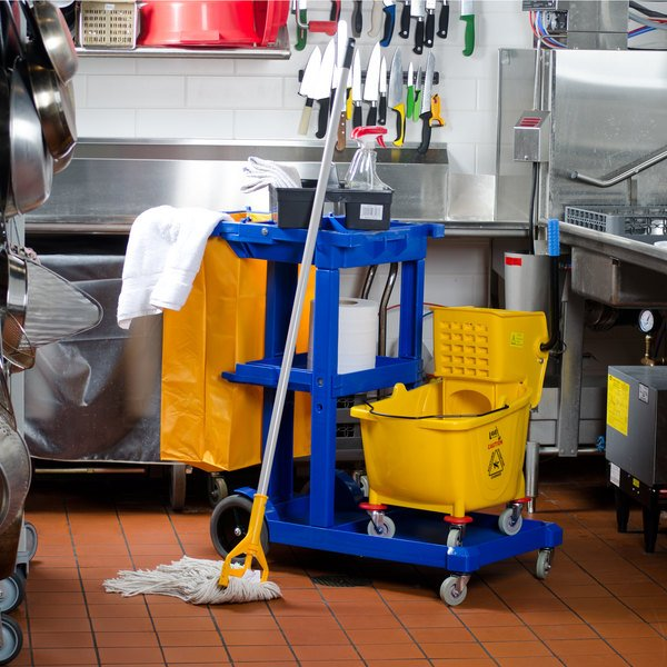 Lavex Janitorial Blue Cleaning / Janitor Cart Kit with Yellow Mop Bucket, Wet Floor Sign, Mop, and Caddy