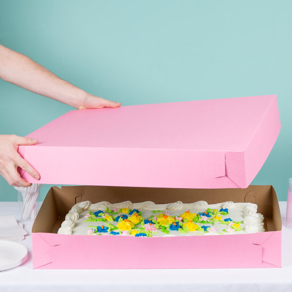 "Baker's Mark 26"" x 18 1/2"" x 4"" Pink Full Sheet Cake / Bakery Box - 25/Case Main Image 5"