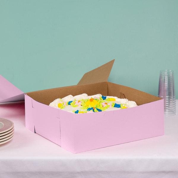 "14"" x 14"" x 5"" Pink Cake / Bakery Box - 50/Bundle"