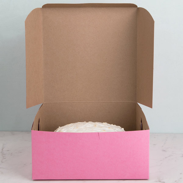 "9"" x 9"" x 4"" Pink Cake / Bakery Box - 200/Bundle"