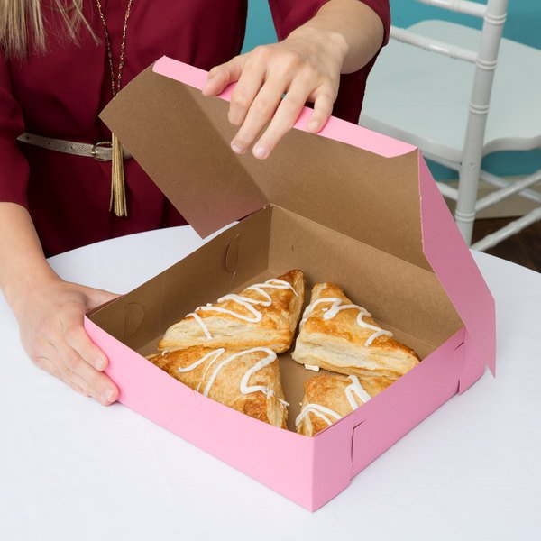 "10"" x 10"" x 3"" Pink Pie / Bakery Box - 200/Bundle Main Image 4"
