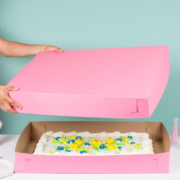 """28"""" x 20"""" x 4"""" Pink Full Sheet Cake / Bakery Box - 25/Bundle"""