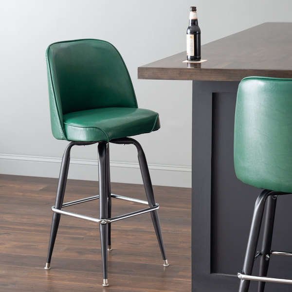 """Lancaster Table & Seating Deluxe Green Barstool with 19"""" Wide Bucket Seat Main Image 4"""