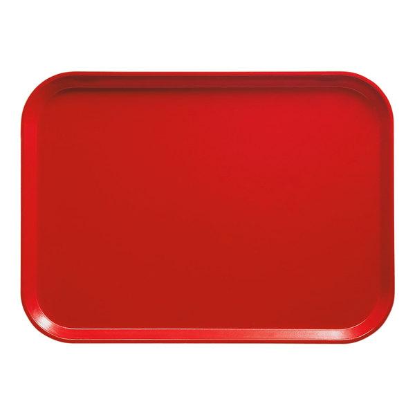 "Cambro 3853510 14 3/4"" x 20 7/8"" (37,5 x 53 cm) Rectangular Metric Signal Red Customizable Fiberglass Camtray - 12/Case"