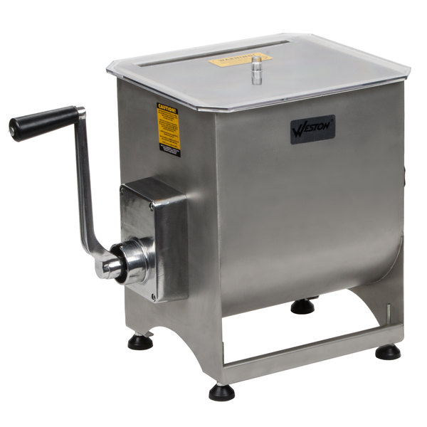Weston 36-2001-W 44 lb. Manual Meat Mixer with Removable Paddles