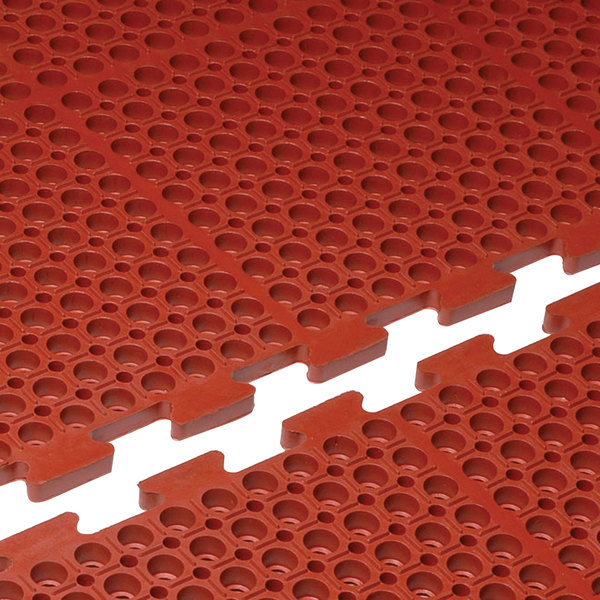 "Cactus Mat 4420-RE VIP Duralok 3' x 5' Red End Interlocking Grease-Resistant Anti-Fatigue Anti-Slip Floor Mat - 3/4"" Thick Main Image 1"