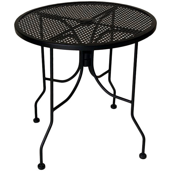 "American Tables & Seating ALM36 36"" Round Top Outdoor Table with Umbrella Hole"