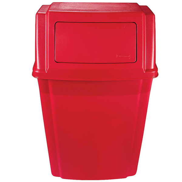 Rubbermaid 1829402 Slim Jim Red 15 Gallon Wall Mounted Trash Container