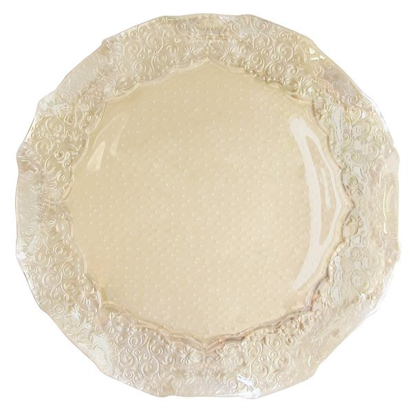 """The Jay Companies 1470329 12 1/2"""" Round Roberta Iris Luster Pearl Glass Charger Plate"""
